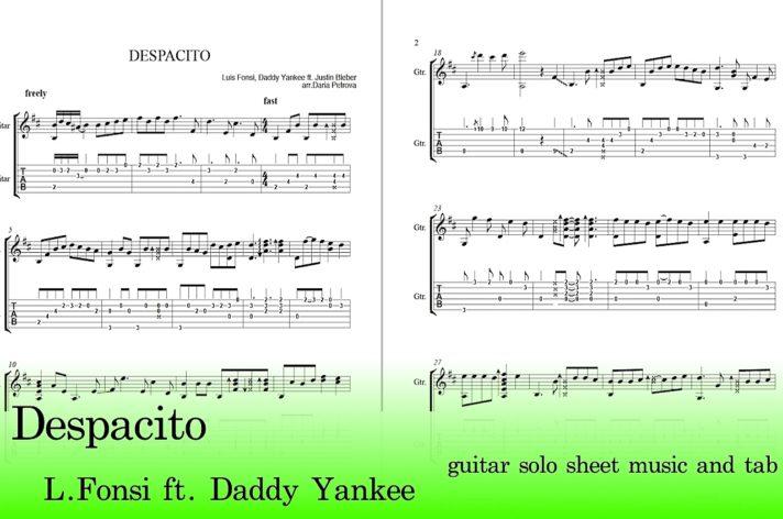 Despacito Guitar Tabs Sheet Music Easy